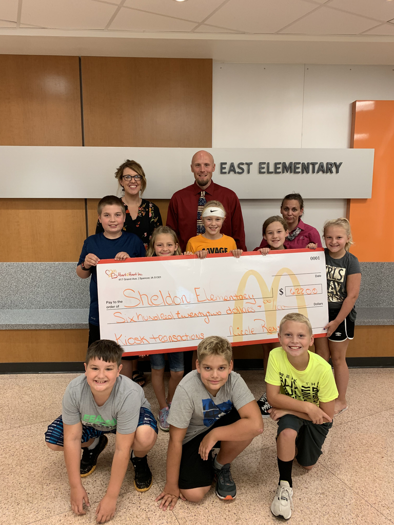 East Elementary students accepting a donation from McDonalds